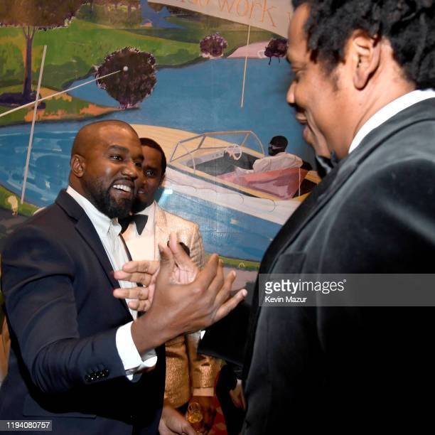 Kanye West and JayZ attend Sean Combs 50th Birthday Bash presented by Ciroc Vodka on December 14 2019 in Los Angeles California