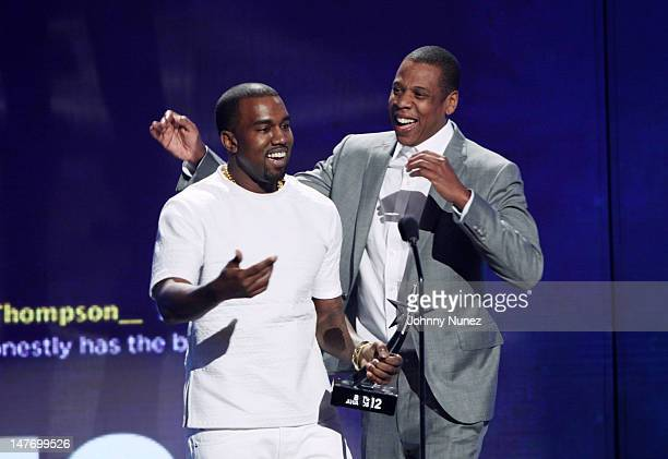 Kanye West and JayZ attend the 2012 BET Awards at The Shrine Auditorium on July 1 2012 in Los Angeles California