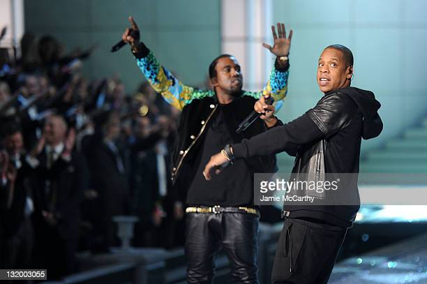 Kanye West and JayZ perform during the 2011 Victoria's Secret Fashion Show at the Lexington Avenue Armory on November 9 2011 in New York City