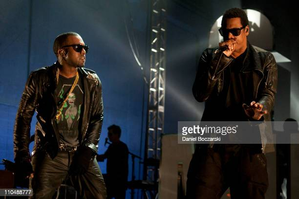 Kanye West and JayZ perform during VEVO Presents GOOD Music at VEVO Power Station on March 19 2011 in Austin Texas