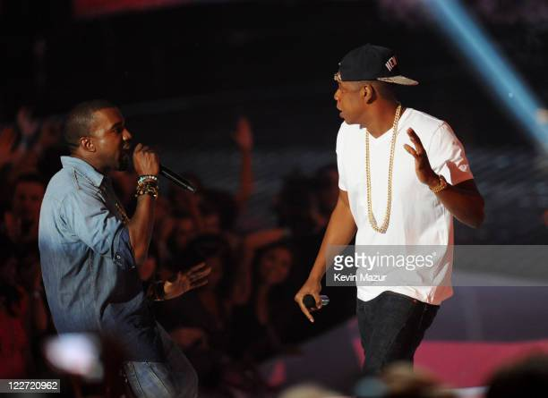 Kanye West and JayZ perform on stage at the The 28th Annual MTV Video Music Awards at Nokia Theatre LA LIVE on August 28 2011 in Los Angeles...