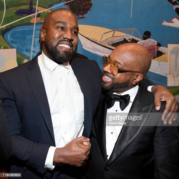 Kanye West and Jermaine Dupri attend Sean Combs 50th Birthday Bash presented by Ciroc Vodka on December 14 2019 in Los Angeles California
