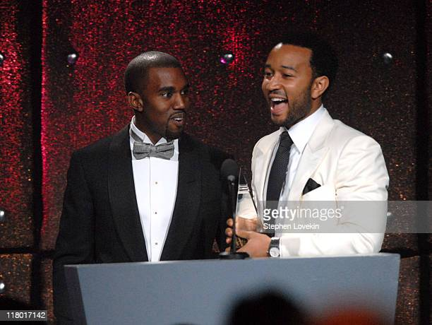 Kanye West and John Legend honoree during 38th Annual Songwriters Hall of Fame Ceremony Show at Marriott Marquis in New York City New York United...