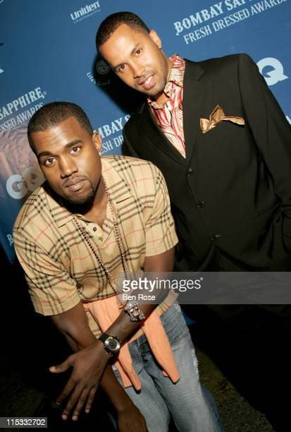 Kanye West and Kenny Burns during GQ Magazine's Bombay Sapphire Fresh Dressed Awards at Compound in Atlanta GA United States