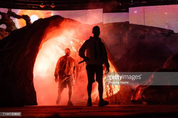 Kanye West and Kid Cudi perform during 2019 Coachella Valley Music And Arts Festival on April 20 2019 in Indio California