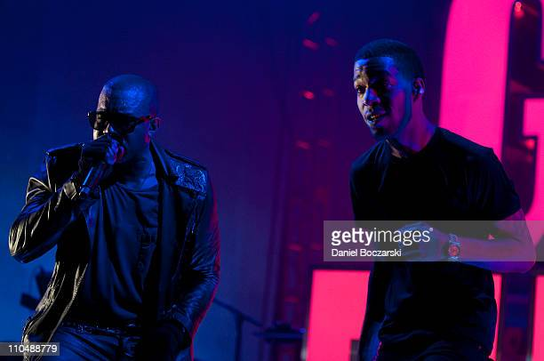 Kanye West and Kid Cudi perform during VEVO Presents GOOD Music at VEVO Power Station on March 19 2011 in Austin Texas
