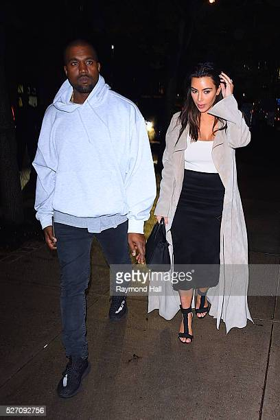 Kanye West and Kim Kardashian are seen in Midtown on May 1 2016 in New York City