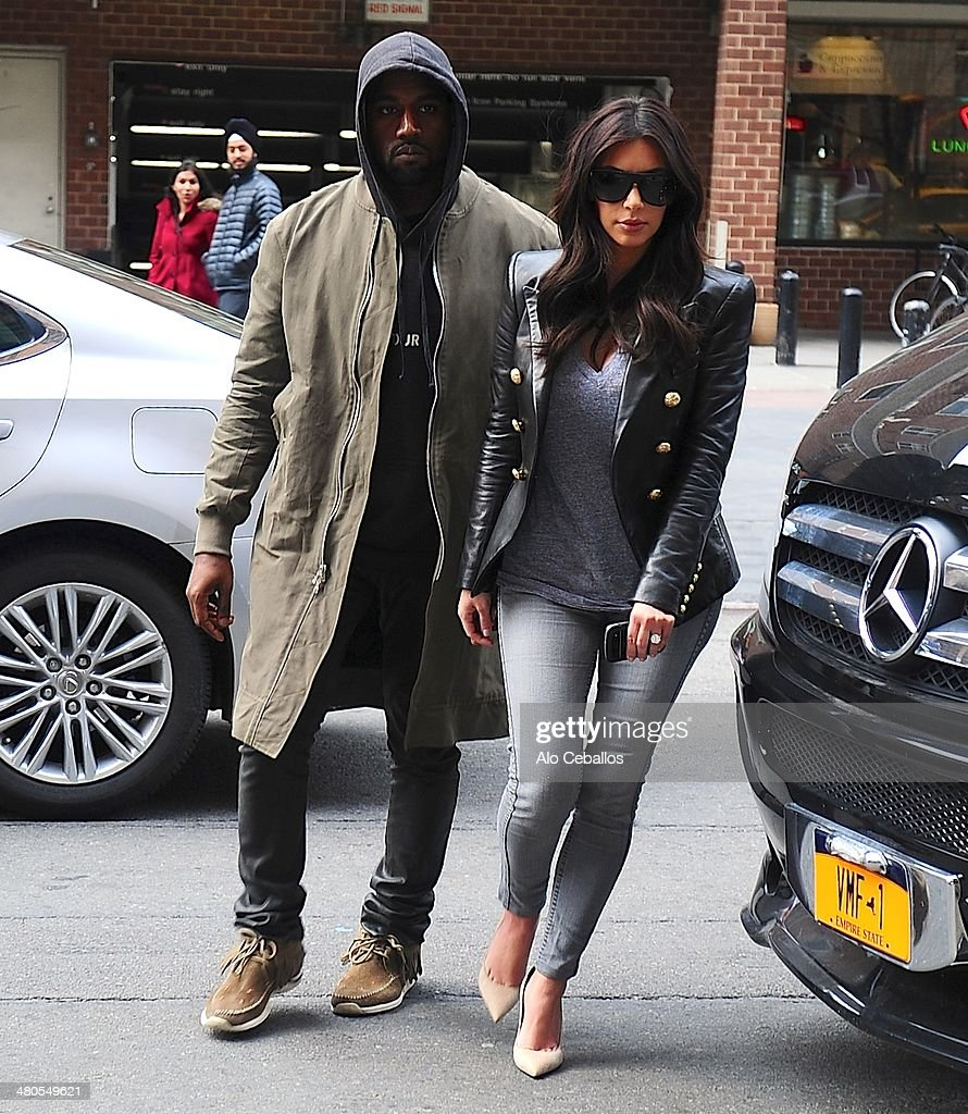 Kanye West and Kim Kardashian are seen in Tribeca on March 25, 2014 in New York City.