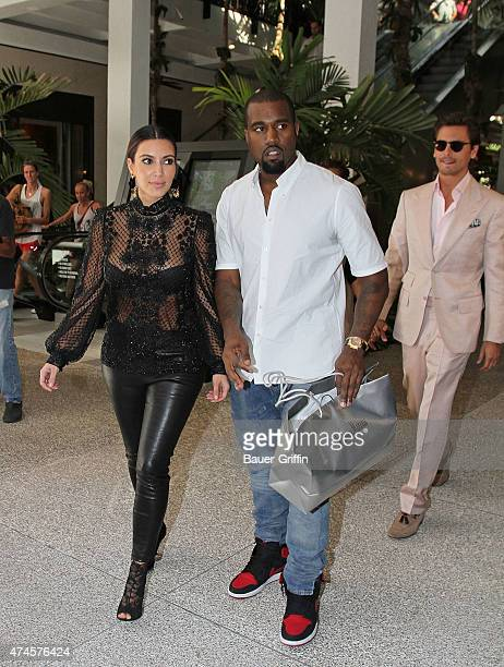 Kanye West and Kim Kardashian are seen on October 31, 2012 in Miami, Florida.