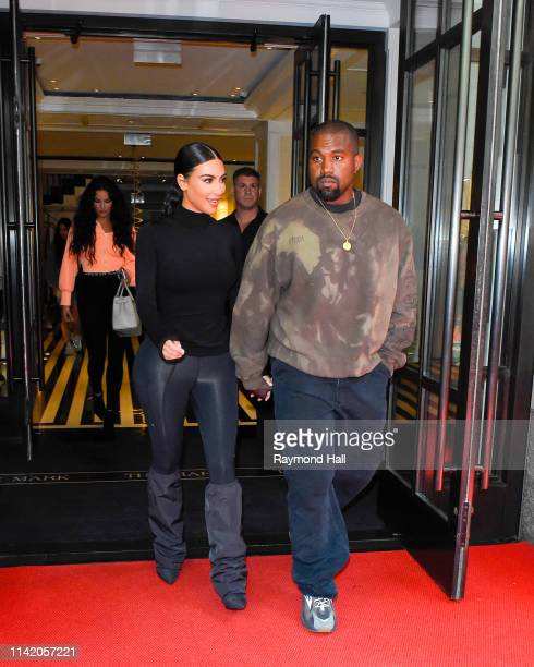 Kanye West and Kim Kardashian are seen outside the mark hotel on May 7 2019 in New York City