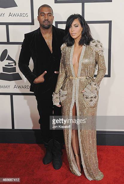 Kanye West and Kim Kardashian arrive at the 57th GRAMMY Awards at Staples Center on February 8 2015 in Los Angeles California