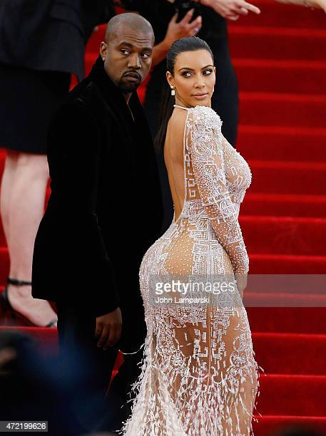 Kanye West and Kim Kardashian attend China Through The Looking Glass Costume Institute Benefit Gala at Metropolitan Museum of Art on May 4 2015 in...