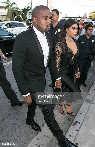 Kanye West and Kim Kardashian attend David Grutman's and model Isabela Rangel wedding in Wynwood Wall on April 23 2016 in Miami Florida