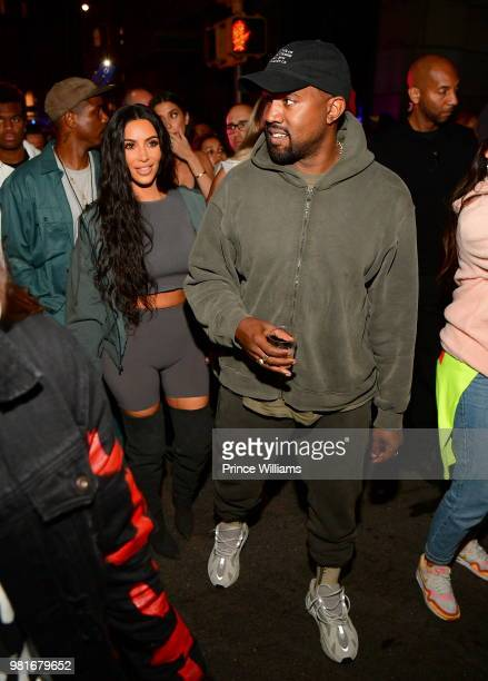 Kanye West and Kim Kardashian attend Teyana Taylor album Release Party at Universal Studios Hollywood on June 21 2018 in Universal City California