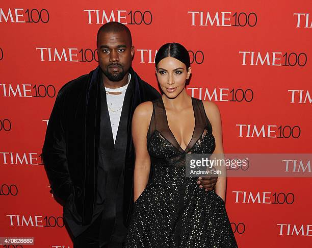 Kanye West and Kim Kardashian attend the 2015 Time 100 Gala at Frederick P Rose Hall Jazz at Lincoln Center on April 21 2015 in New York City
