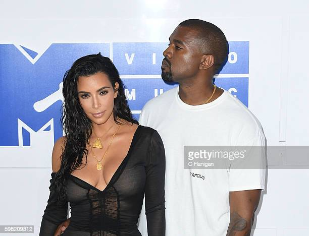Kanye West and Kim Kardashian attend the 2016 MTV Video Music Awards at Madison Square Garden on August 28 2016 in New York City