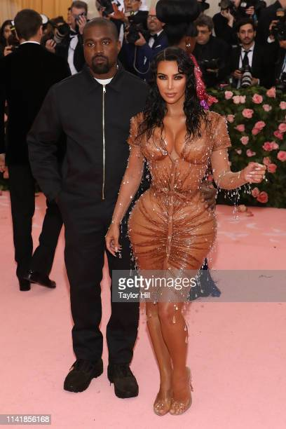 Kanye West and Kim Kardashian attend the 2019 Met Gala celebrating Camp Notes on Fashion at The Metropolitan Museum of Art on May 6 2019 in New York...