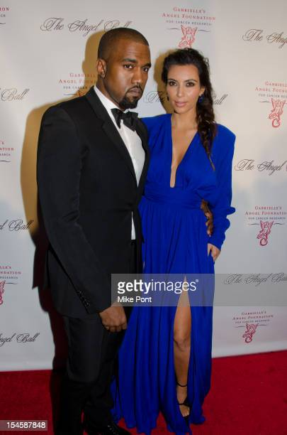 Kanye West and Kim Kardashian attend the Angel Ball 2012 at Cipriani Wall Street on October 22 2012 in New York City