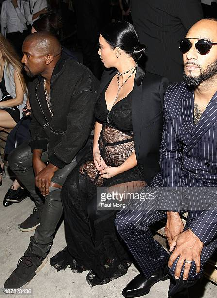 Kanye West and Kim Kardashian attend the Givenchy fashion show during Spring 2016 New York Fashion Week on September 11 2015 in New York City