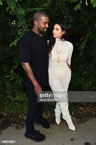 Kanye West and Kim Kardashian attend the Kanye West Yeezy Season 4 fashion show on September 7 2016 in New York City