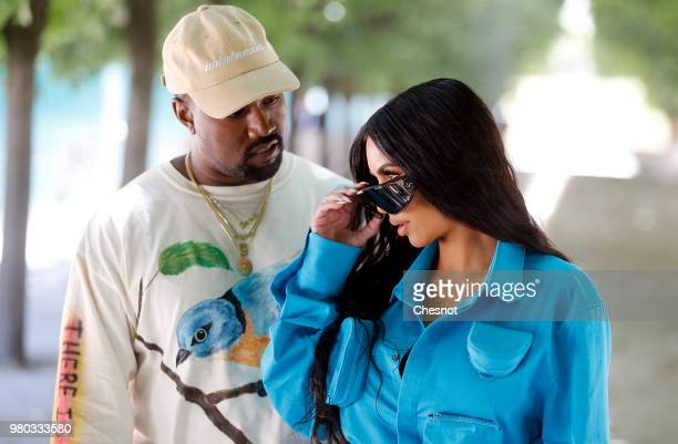 Kanye West and Kim Kardashian attend the Louis Vuitton Menswear Spring/Summer 2019 show as part of Paris Fashion Week Week on June 21 2018 in Paris...