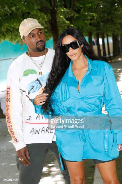 Kanye West and Kim Kardashian attend the Louis Vuitton Menswear Spring/Summer 2019 show as part of Paris Fashion Week on June 21 2018 in Paris France