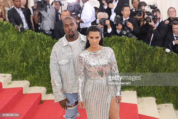 Kanye West and Kim Kardashian attend the 'Manus x Machina Fashion In An Age Of Technology' Costume Institute Gala at Metropolitan Museum of Art on...