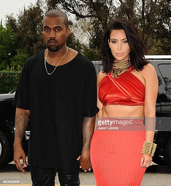 Kanye West and Kim Kardashian attend the Roc Nation Grammy brunch on February 7 2015 in Beverly Hills California