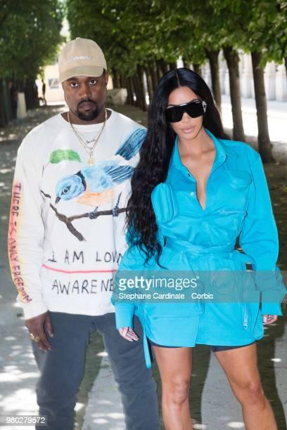 Kanye West and Kim Kardashian attends the Louis Vuitton Menswear Spring/Summer 2019 show as part of Paris Fashion Week Week on June 21 2018 in Paris...