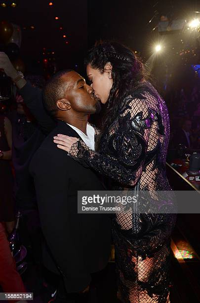 Kanye West and Kim Kardashian celebrate New Year's Eve countdown at 1 OAK Nightclub at The Mirage Hotel Casino on December 31 2012 in Las Vegas Nevada