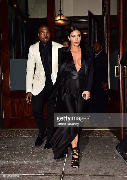 Kanye West and Kim Kardashian leave the Greenwich Hotel on January 8 2015 in New York City