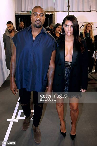 Kanye West and Kim Kardashian pose backstage before the Lanvin show as part of the Paris Fashion Week Womenswear Spring/Summer 2015 on September 25...