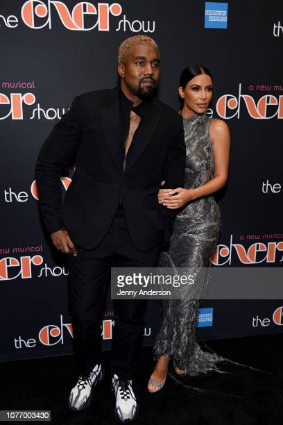 Kanye West and Kim Kardashian West arrive at 'The Cher Show' Broadway Opening Night at Neil Simon Theatre on December 03 2018 in New York City