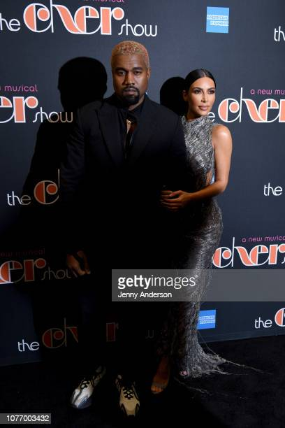 Kanye West and Kim Kardashian West arrive at The Cher Show Broadway Opening Night at Neil Simon Theatre on December 03 2018 in New York City