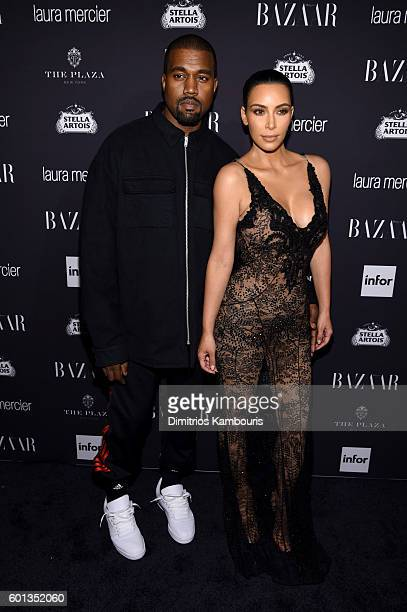 Kanye West and Kim Kardashian West attend Harper's Bazaar's celebration of ICONS By Carine Roitfeld presented by Infor Laura Mercier and Stella...