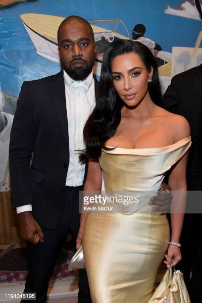 Kanye West and Kim Kardashian West attend Sean Combs 50th Birthday Bash presented by Ciroc Vodka on December 14 2019 in Los Angeles California