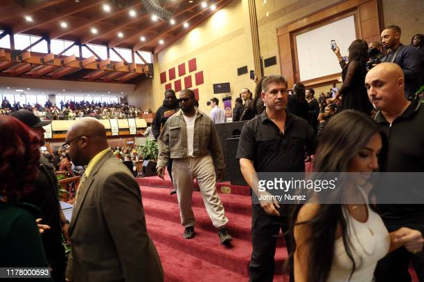 Kanye West and Kim Kardashian West attend Sunday Service at The Greater Allen A.M.E. Cathedral of New York on September 29, 2019 in New York City.