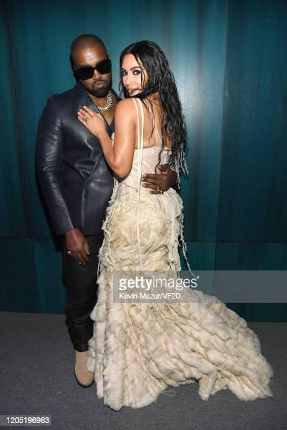 Kanye West and Kim Kardashian West attend the 2020 Vanity Fair Oscar Party hosted by Radhika Jones at Wallis Annenberg Center for the Performing Arts...