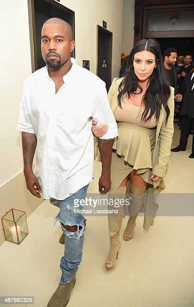 Kanye West and Kim KardashianWest attend the Rihanna Party at The New York Edition on September 10 2015 in New York City