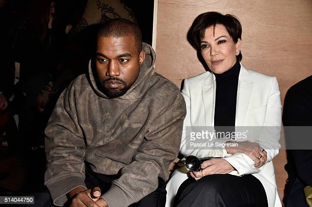 Kanye West and Kris Jenner attend the Givenchy show as part of the Paris Fashion Week Womenswear Fall/Winter 2016/2017 on March 6, 2016 in Paris,...