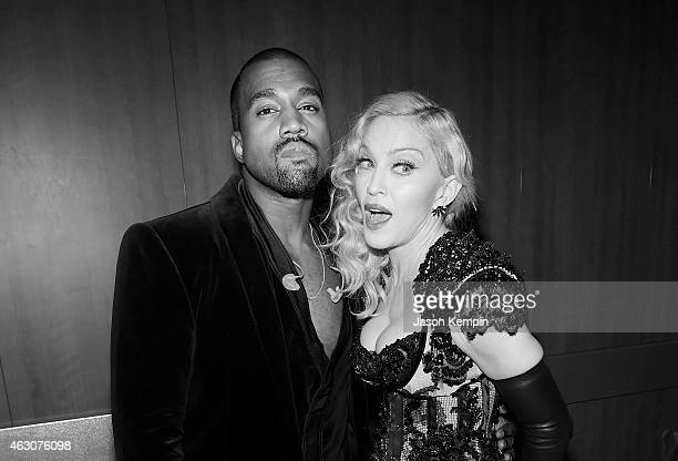 Kanye West and Madonna attend the 57th Annual GRAMMY Awards Backstage at The Staples Center on February 8 2015 in Los Angeles California