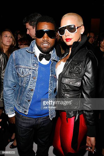 Kanye West and Model Amber Rose attend Narcisco Rodriguez Fall 2009 during MercedesBenz Fashion Week at The Tent in Bryant Park on February 17 2009...