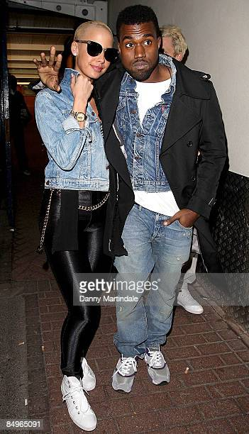 Kanye West and model Amber Rose attend the Vivienne Westwood Red Label show as part of London Fashion Week a/w 2009 on February 21 2009 in London...