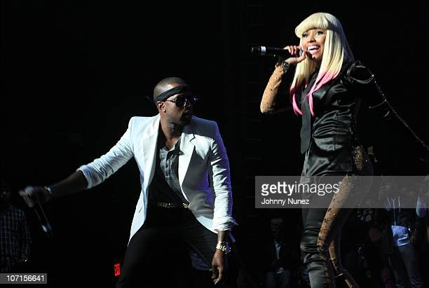 Kanye West and Nicki Minaj perform at the Hot 97 Thanksgiving Thank you Concert at Hammerstein Ballroom on November 25 2010 in New York City