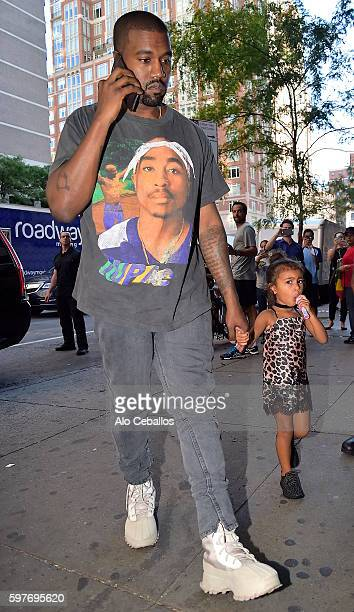 Kanye West and North West are seen going to the movies on the Upper East Side on August 29 2016 in New York City