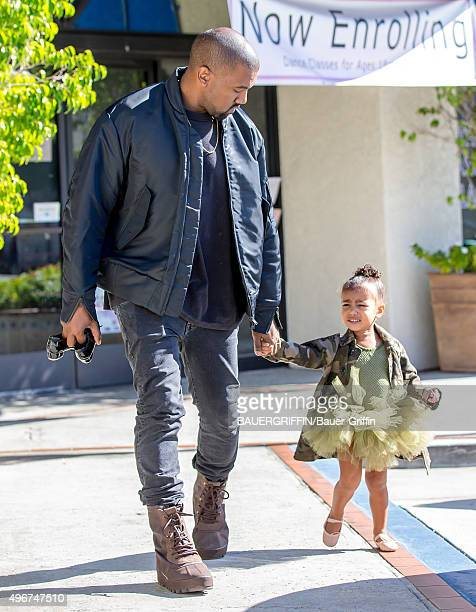 Kanye West and North West are seen on November 11 2015 in Los Angeles California
