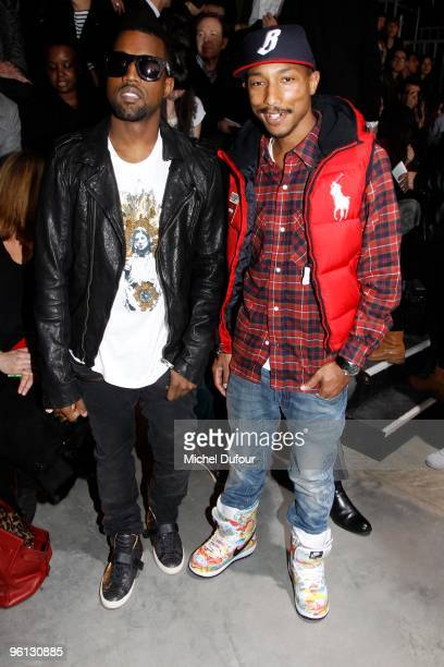 Kanye West and Pharell Williams at the Lanvin fashion show during Paris Menswear Fashion Week Autumn/Winter 2010 at Palais De Tokyo on January 24...