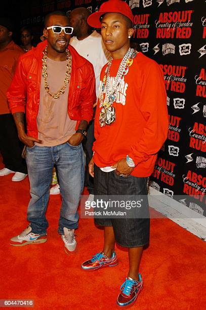 Kanye West and Pharrell Williams attend Pharrell Williams and Absolut Ruby Red hosts MTV VMA PreParty at Chinatown Brasserie NYC on August 30 2006