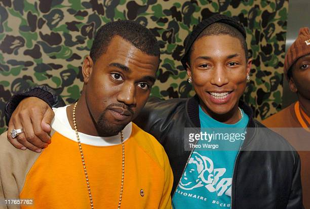 Kanye West and Pharrell Williams during Pharrell Williams Hosts Store Opening of Nigo's A Bathing Ape at Bathing Ape in New York City New York United...