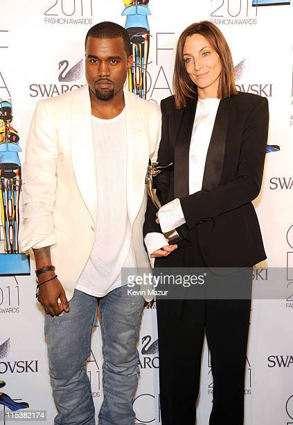 Kanye West and Phoebe Philo attends the 2011 CFDA Fashion Awards at Alice Tully Hall Lincoln Center on June 6 2011 in New York City